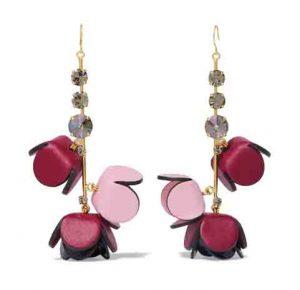 MARNI Gold-Tone, Crystal and Leather Earrings, PKR 70,000 neta