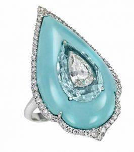 BOGHOSSIAN Diamond & Paraiba Tourmaline Ring