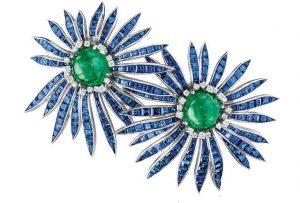 VERDURA Emerald and Sapphire Earrings