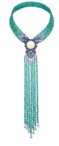 CHOPARD Necklace with Opal, Emerald Beads and Gemstones