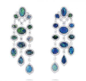 DAVID MORRIS Opal and Diamond Earrings
