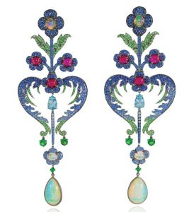 LYDIA COURTEILLE Earrings with Rubies, Sapphires and Opals