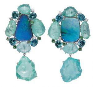 MARGOT MCKINNEY Opal and Paraiba Tourmaline Earrings