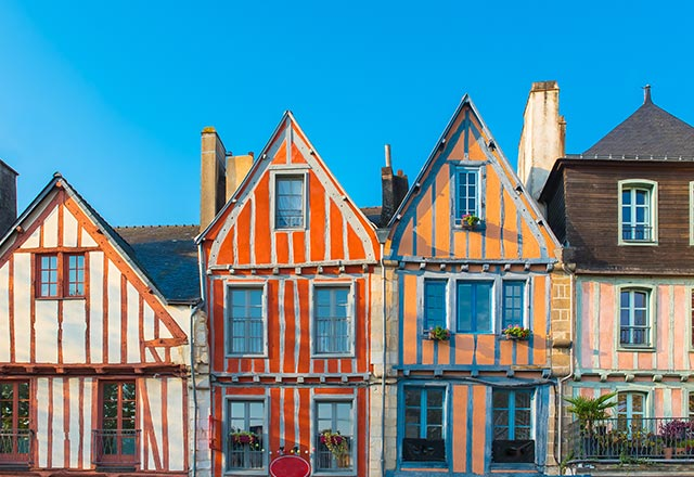 Vannes, beautiful old half-timbered houses, magnificent town in Brittany