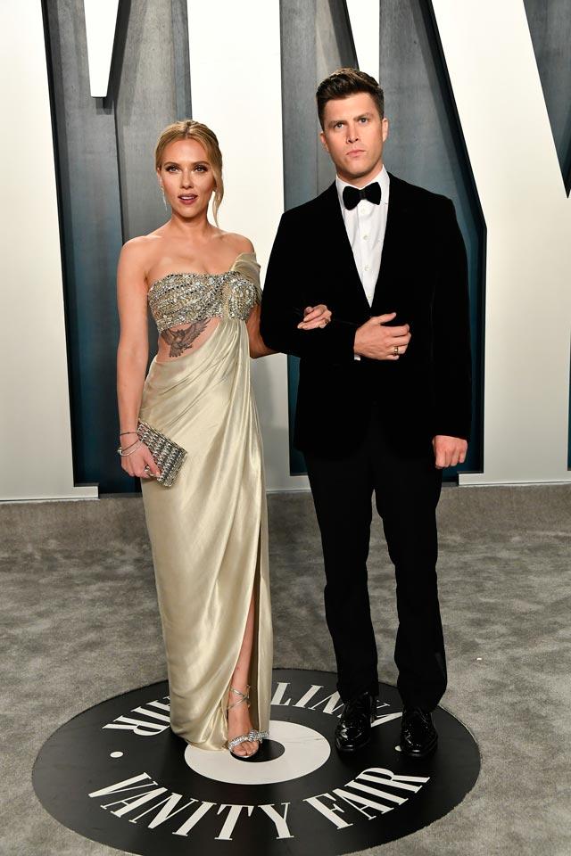 vanity fair oscar party Scarlett Johansson and Colin Jost