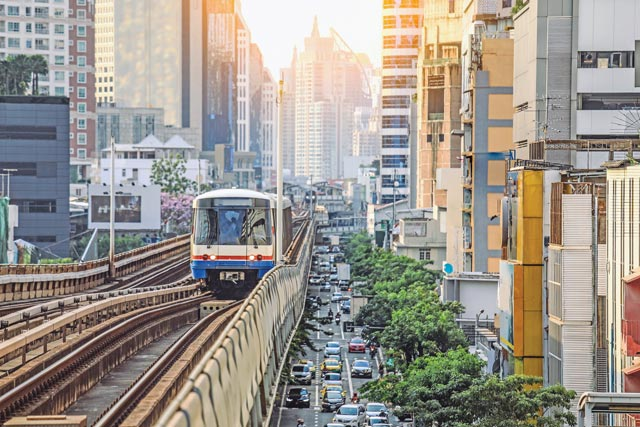 Sky train is fastest transport mode in Bangkok E